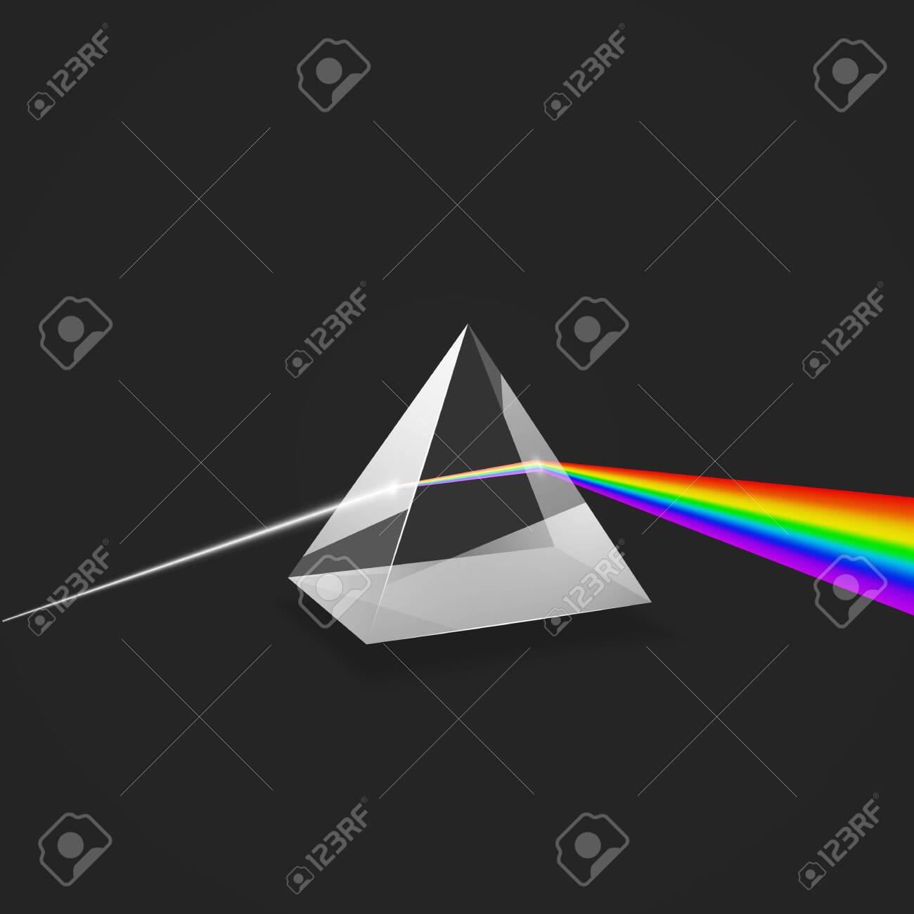 Dispersion. Colorful spectrum of light. Glass prism and beam of light. Science experiment with light. Vector illustration - 123249964