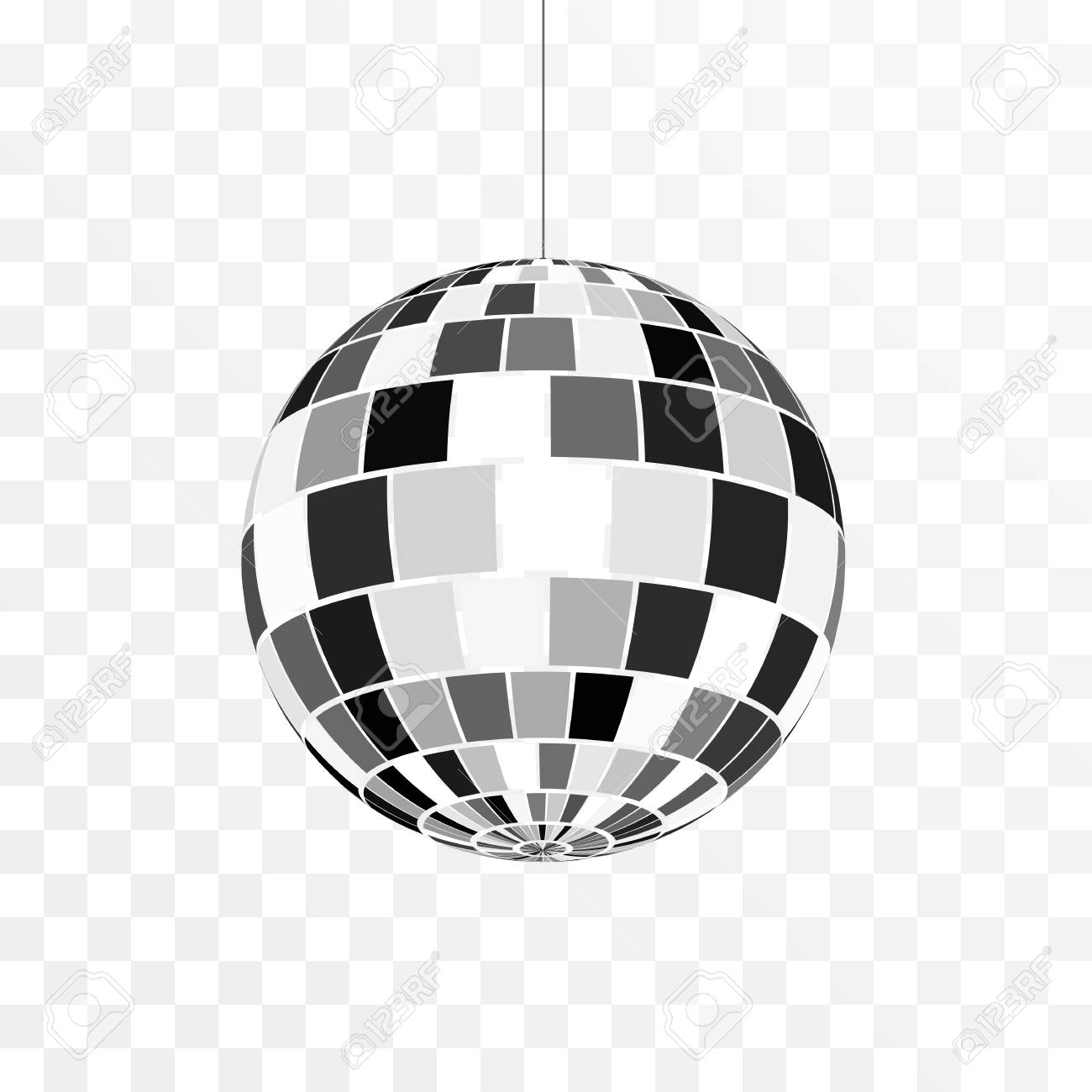Disco ball icon. Symbol nightlife. Retro disco party. Vector illustration isolated on transparent background - 122893947
