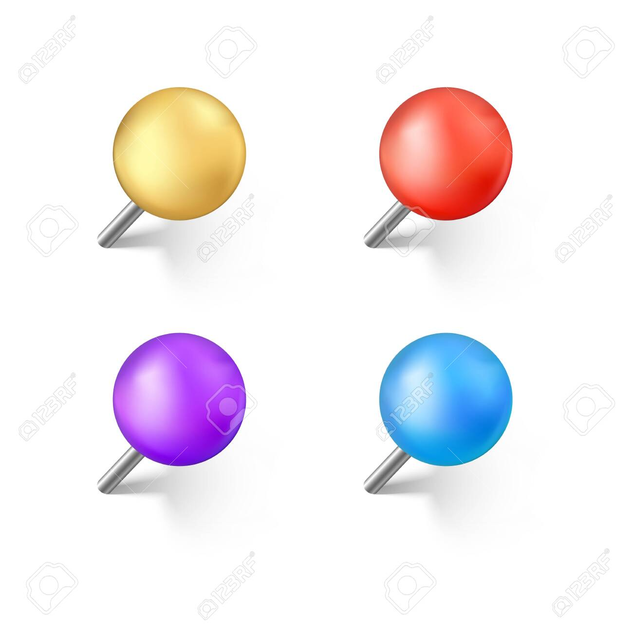 Set of color push pins with shadow. Realistic office needle. Vector illustration isolated on white background - 126022202