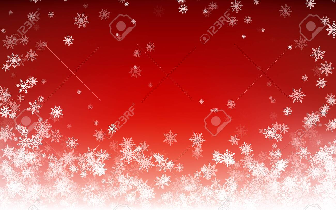 Holiday winter background for Merry Christmas and Happy New Year. Falling white snowflakes on red background. Winter falling snow. Vector illustration - 131811183