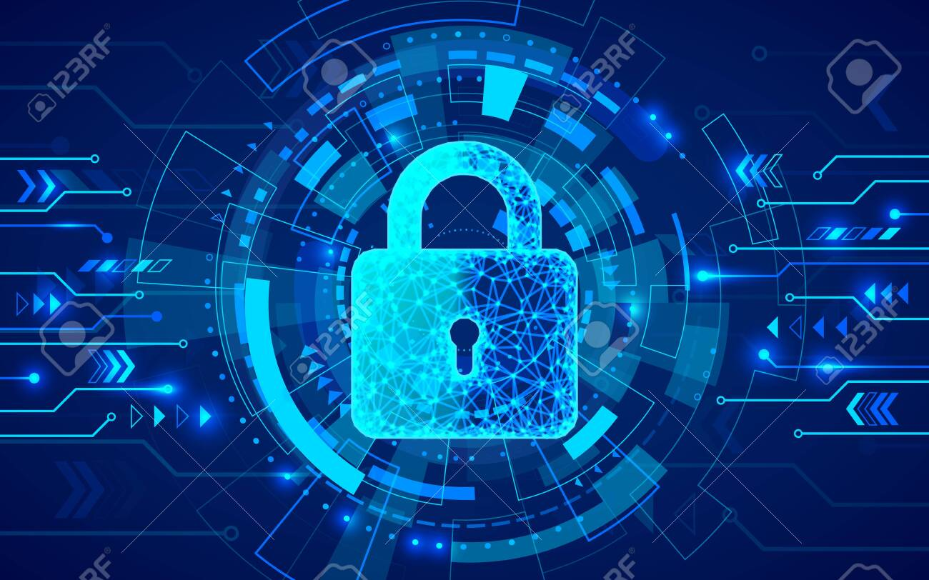 Internet security. Firewall or other software or network security. Cyber data defense or information protection concept. Blue abstract technology background. Vector illustration - 132037573