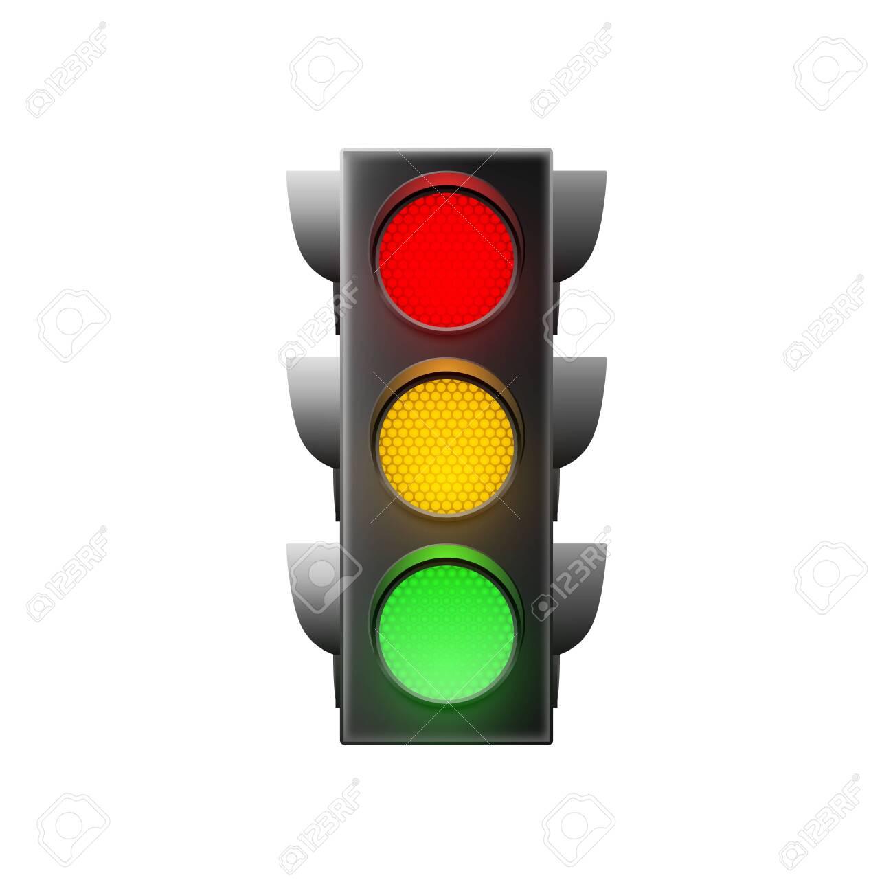 Traffic light isolated on white background. Vector illustration - 147625496