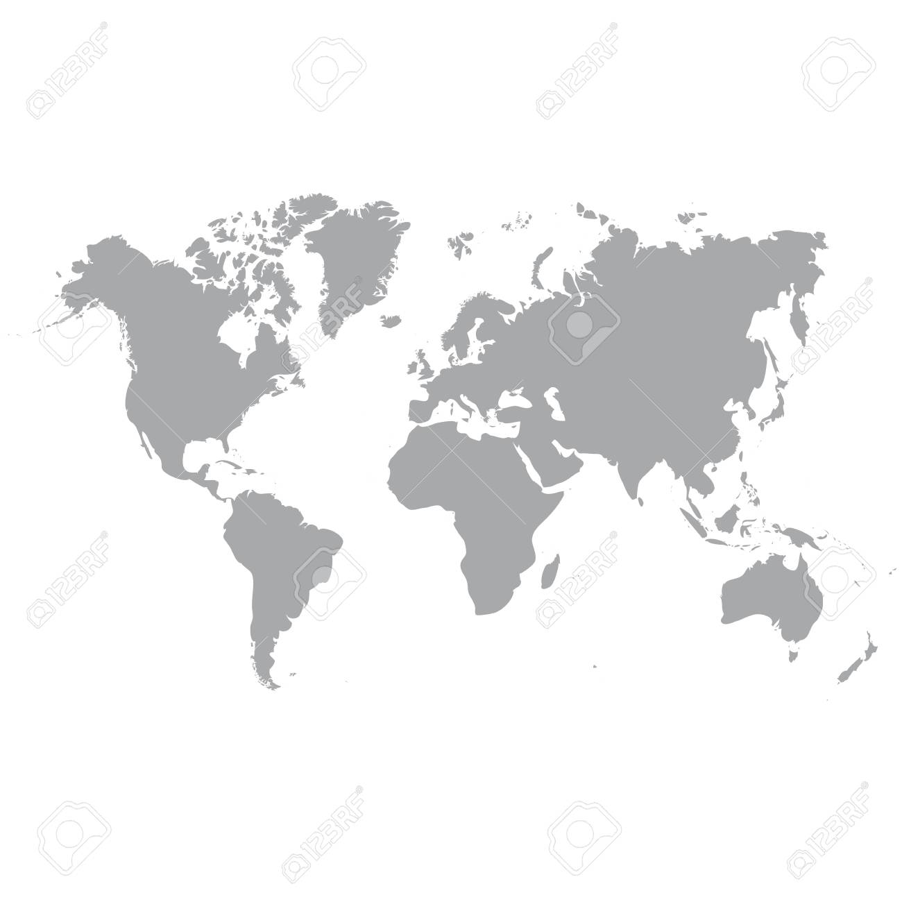 Map Of The World Clear.Clear Grey Map Of The World Isolated On Background Blank Map