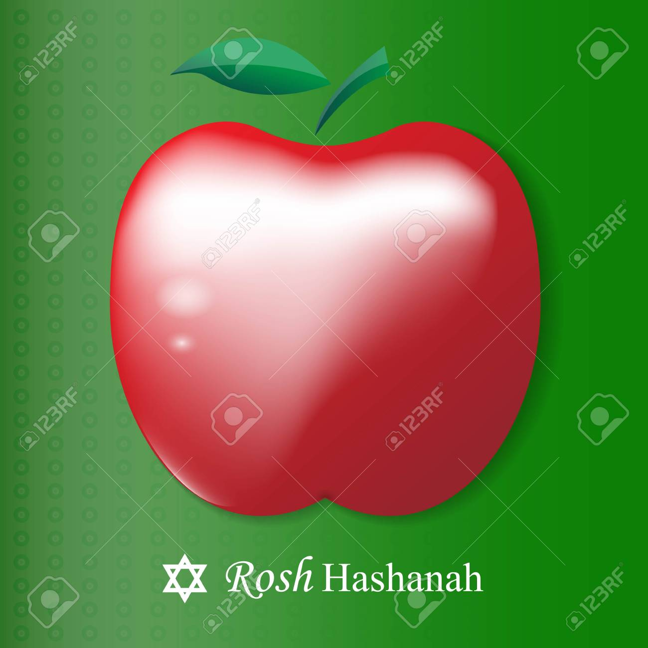 Greeting Card Design For Jewish New Year Rosh Hashanah Red