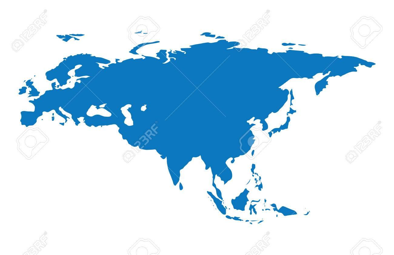 Blank Blue Similar Continent Eurasia Map Isolated On White - Blank map of eurasia