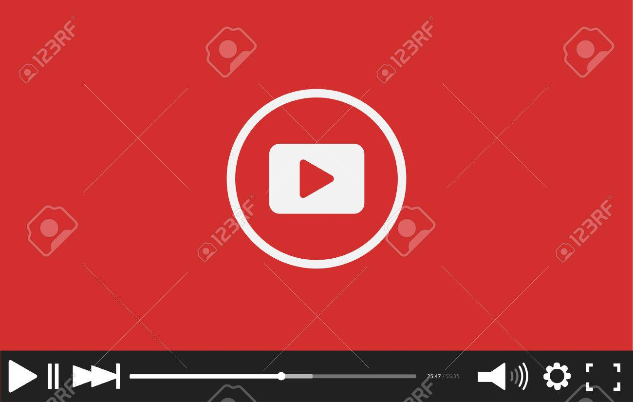 Blue flat video player bar template for your design. Trendy.