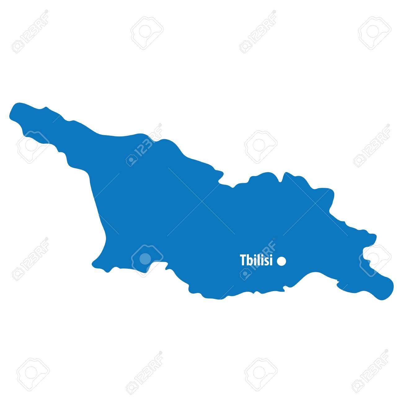 Blue Similar Georgia Map Vector With Capital City Tbilisi. European ...