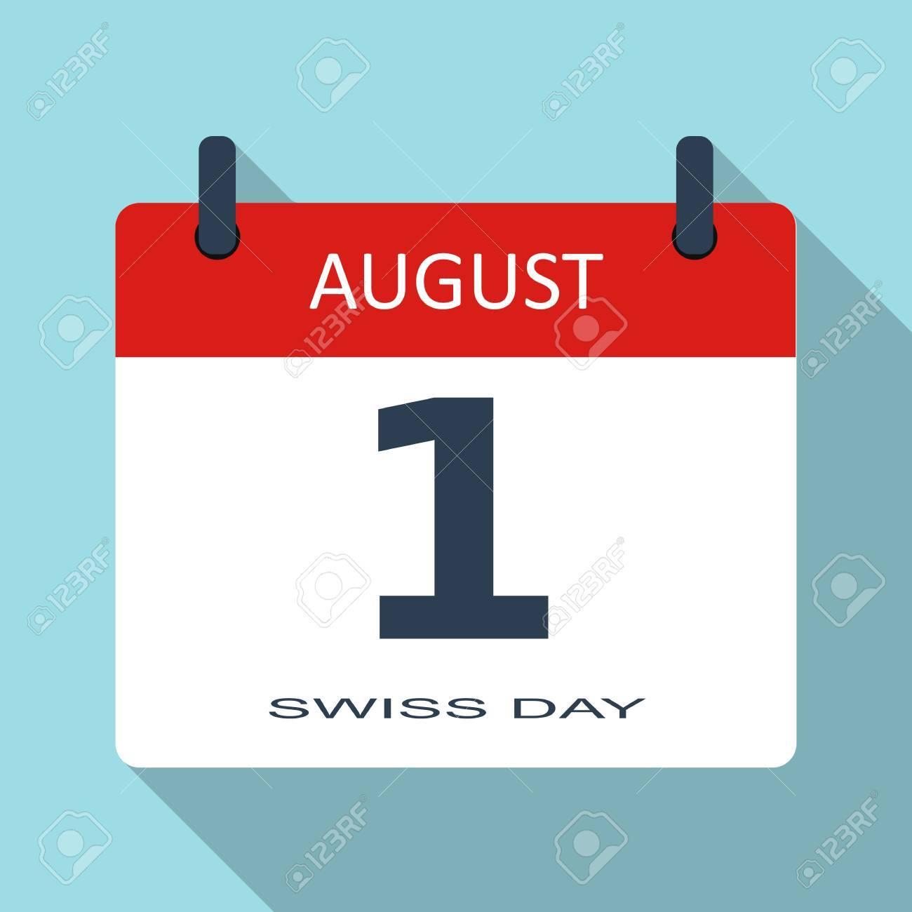 Calendario Diario.1 De Agosto Dia Suiza Vector Plana Icono De Calendario Diario Fecha Y Hora El Mes Fiesta Plantilla Moderna Simple Senal Para El Sitio Web Y La