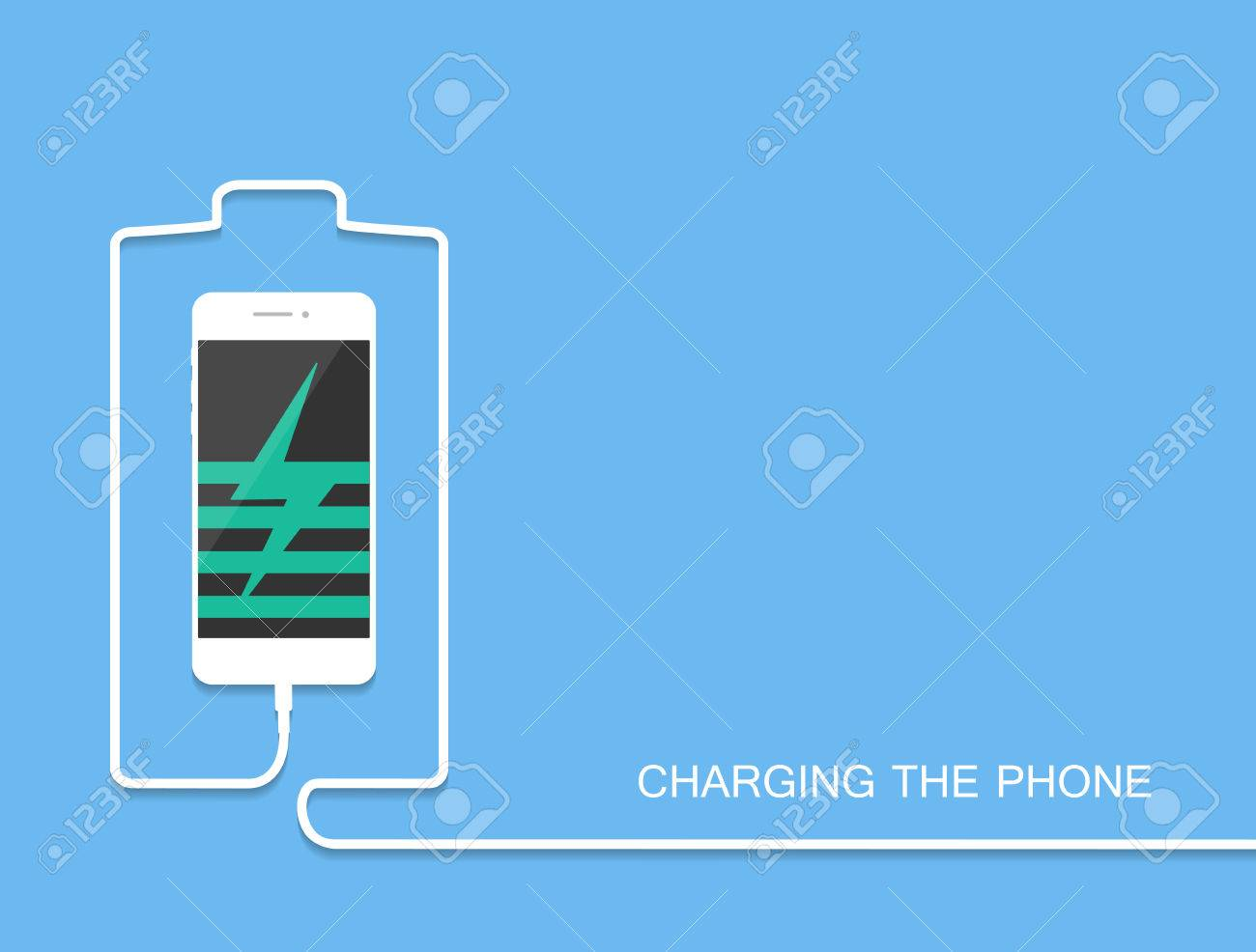Phone Charging With Energy Bank. Smarthone With Line Wire ...