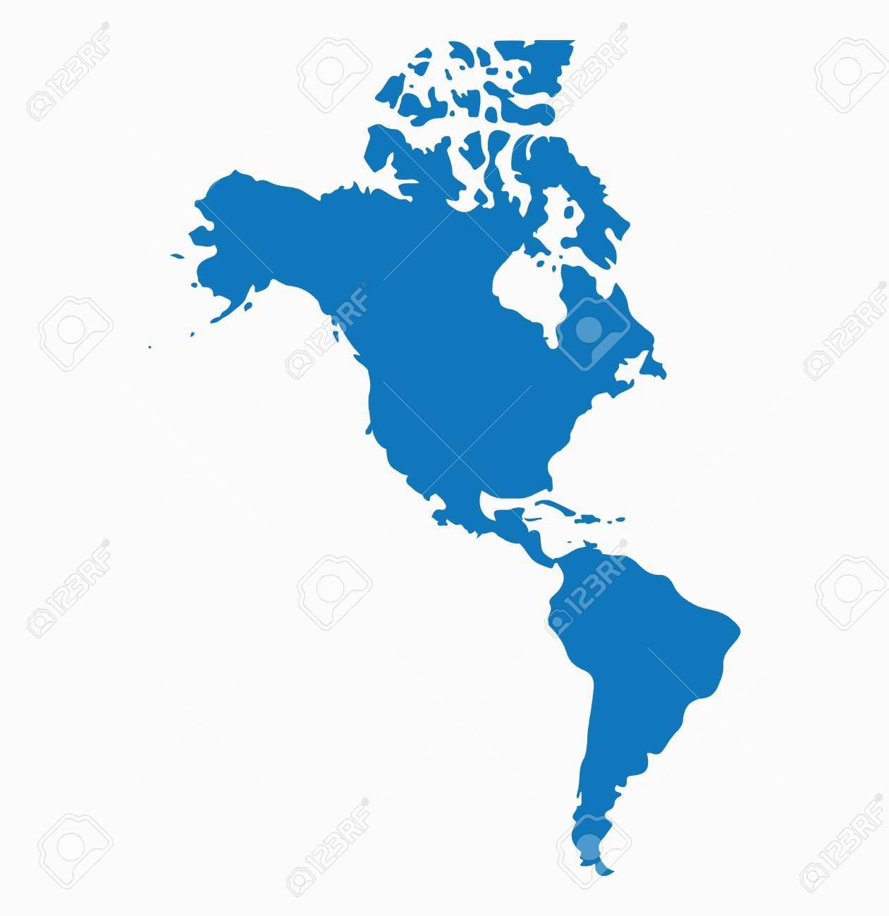 Blank Blue similar North and South America map isolated on white..