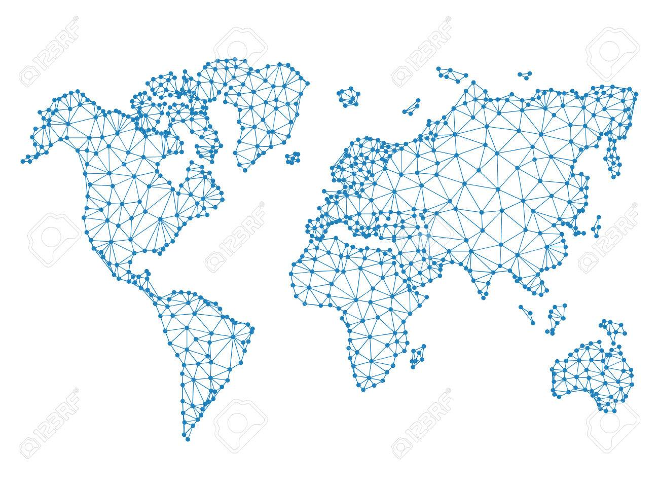 Social network blue vector low poly world map illustration point social network blue vector low poly world map illustration point and geometrical form in world gumiabroncs