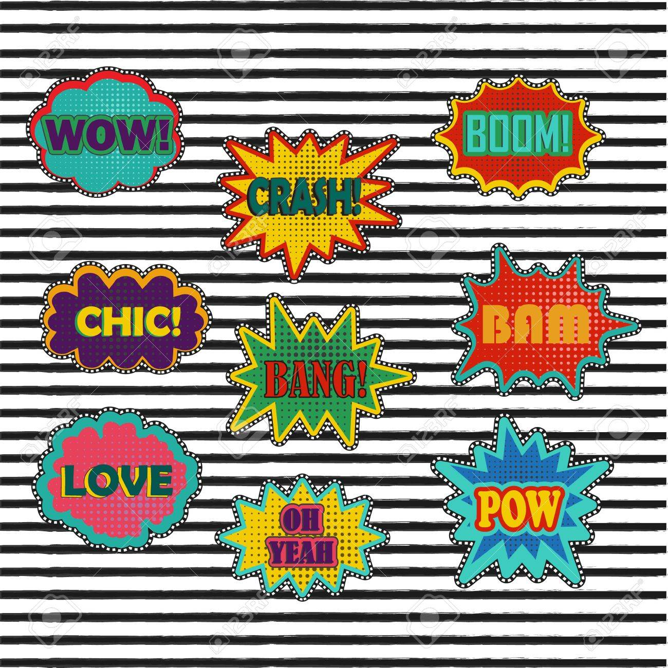 Comic patch sound effects in pop art style  Sound bubble speech