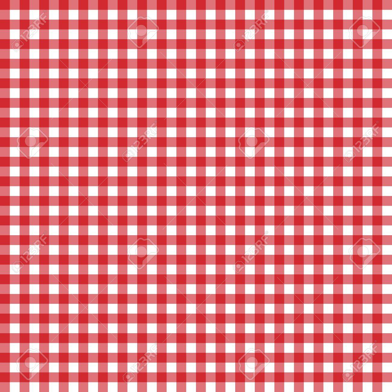 red classic checkered table cloth texture background with copy