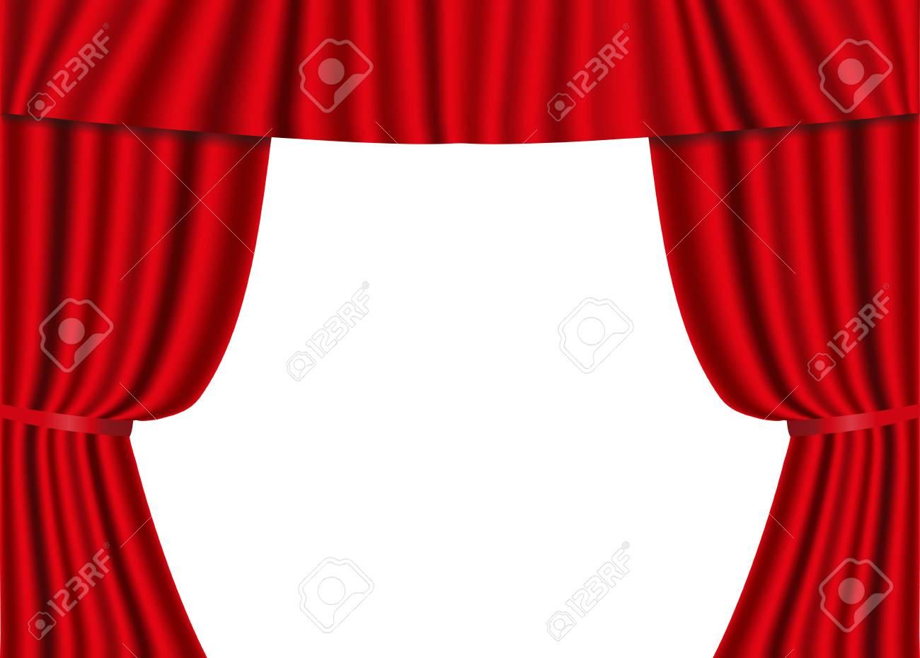 Tende In Velluto Di Seta tende aperte rosse isolate su una priorità bassa bianca. lusso rosso  scarlatto di seta, velluto. illustrazione vettoriale