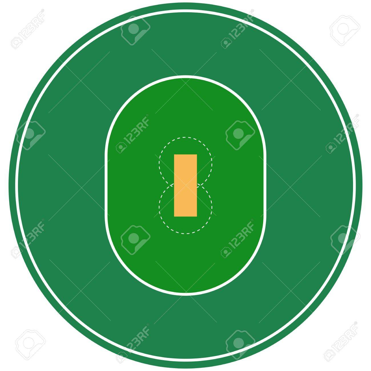 Flat Green Cricket Ground Top View Cricket Field With Line Template