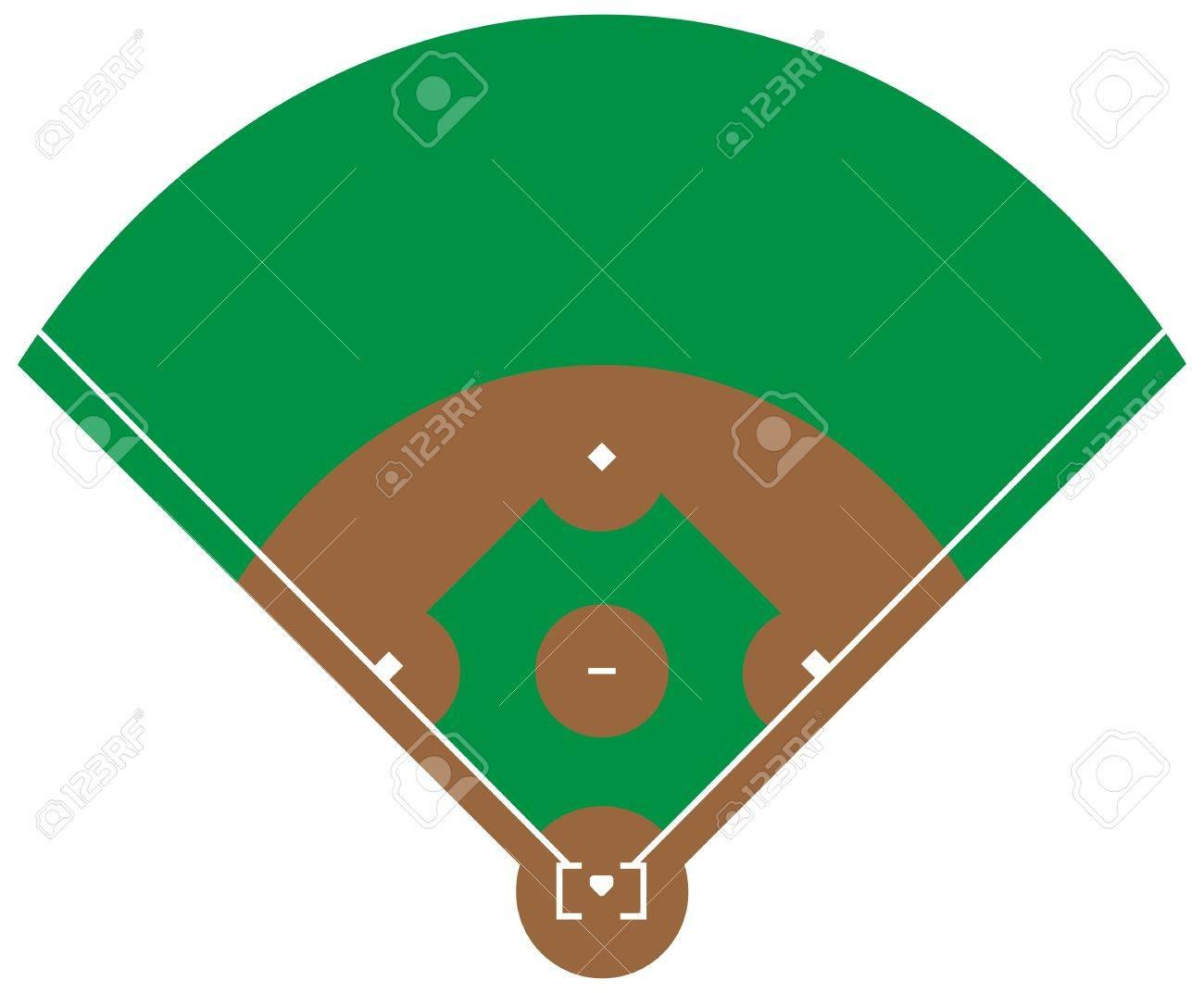 Flat green Baseball grass field. Baseball base with line template. Vector stadium. - 82258319