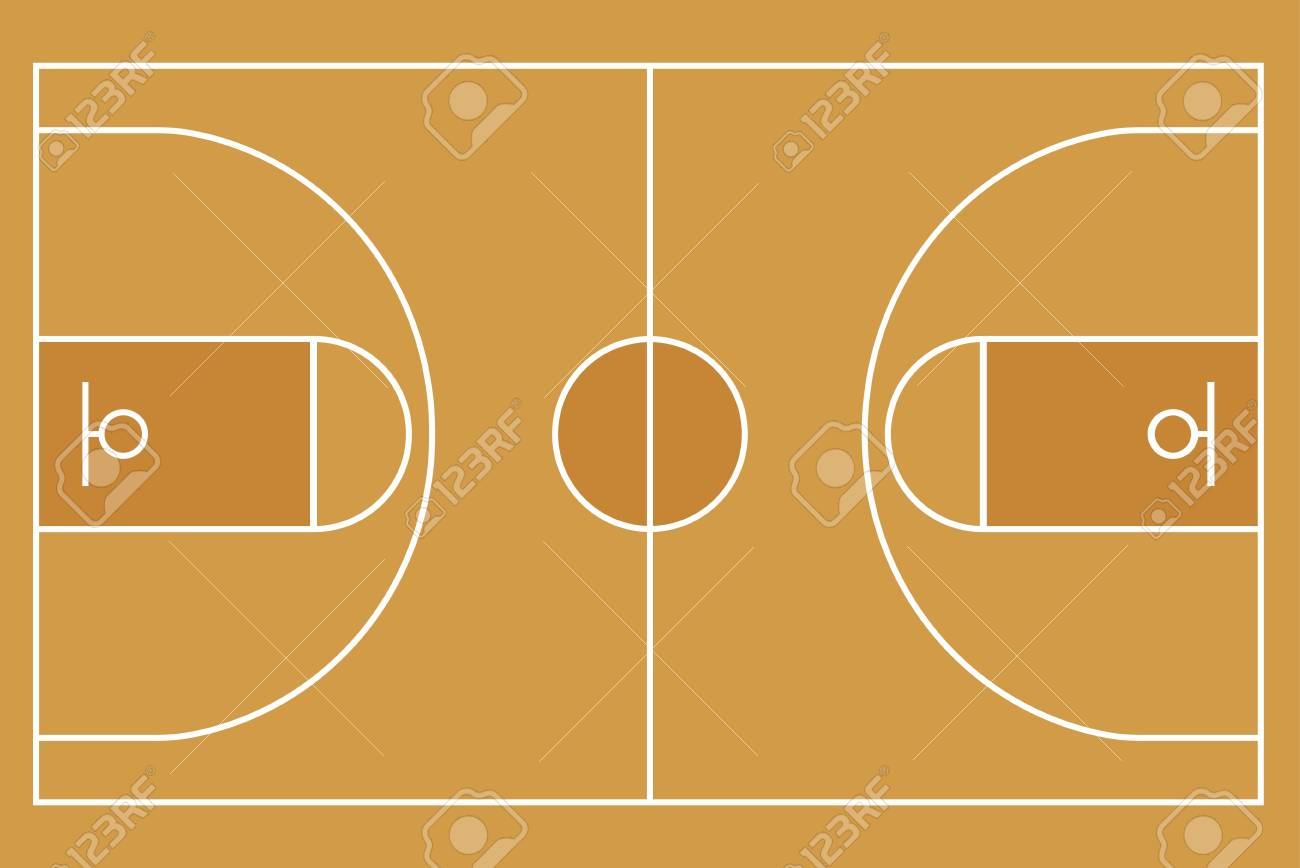 Flat Basketball Field Top View Of Basketball Court With Line