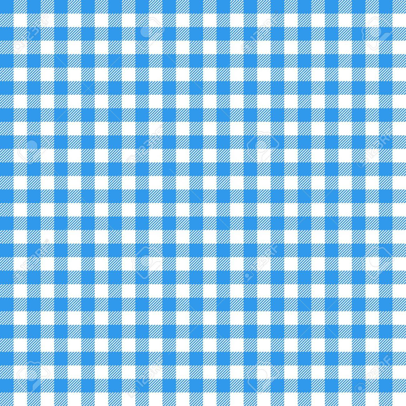 Gingham Seamless Pattern. Blue Italian Tablecloth. Picnic Tale Cloth  Vector. Stock Vector