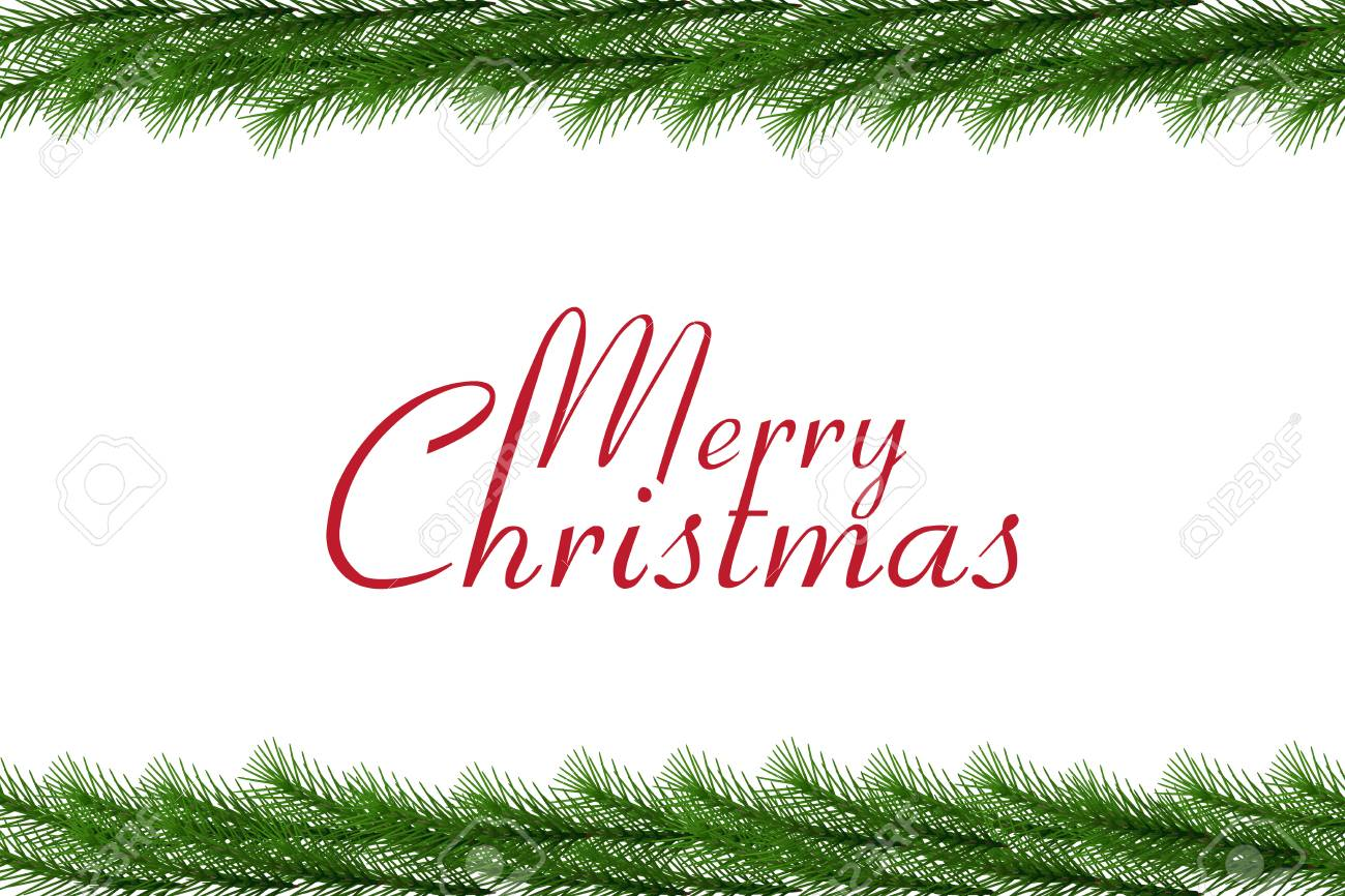 Merry Christmas Text With Christmas Garland Vector Border Royalty