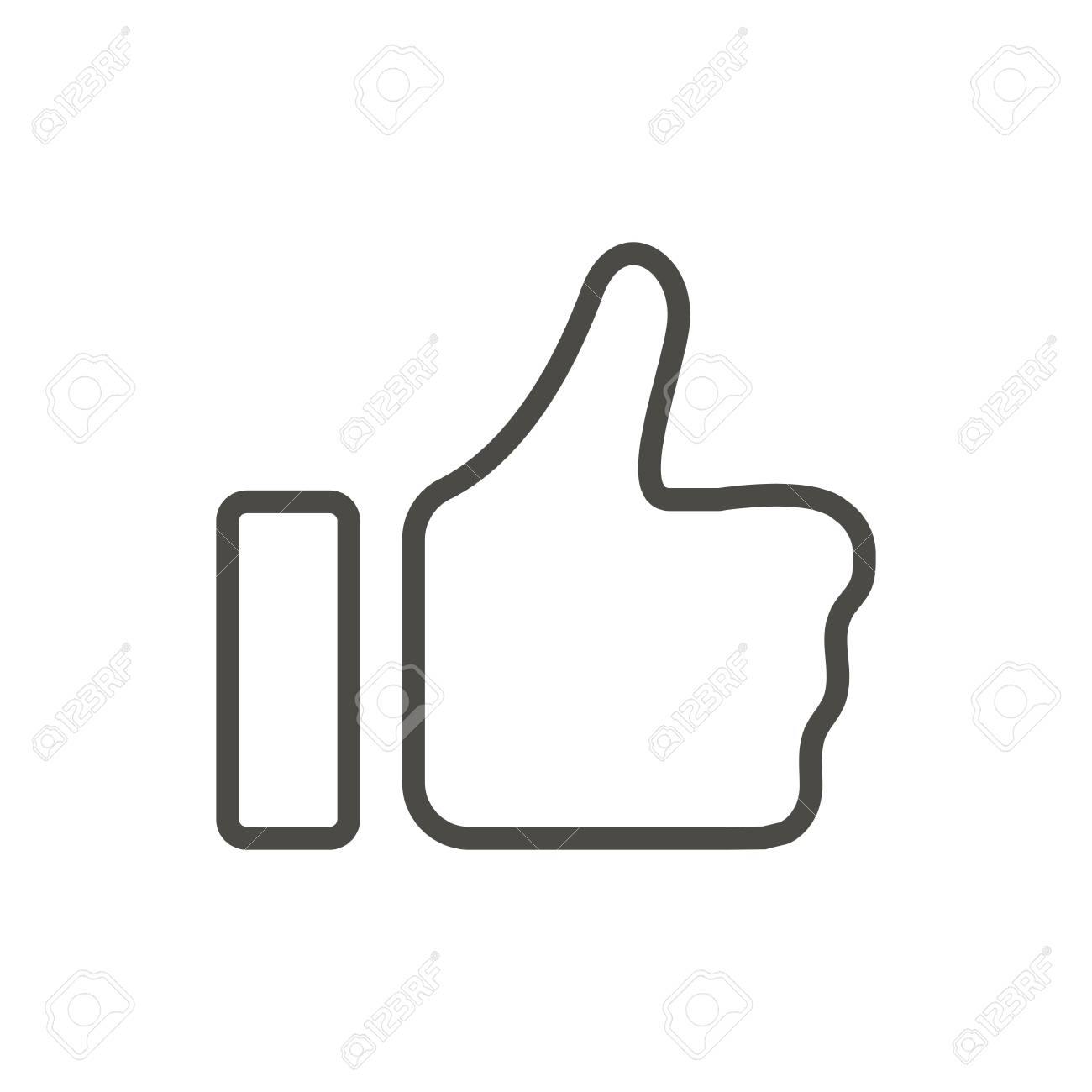 Thumb up icon vector. Line like symbol isolated. Trendy flat outline ui sign design. Thin linear like hand graphic pictogram for web site, mobile app. Logo illustration. - 102158245