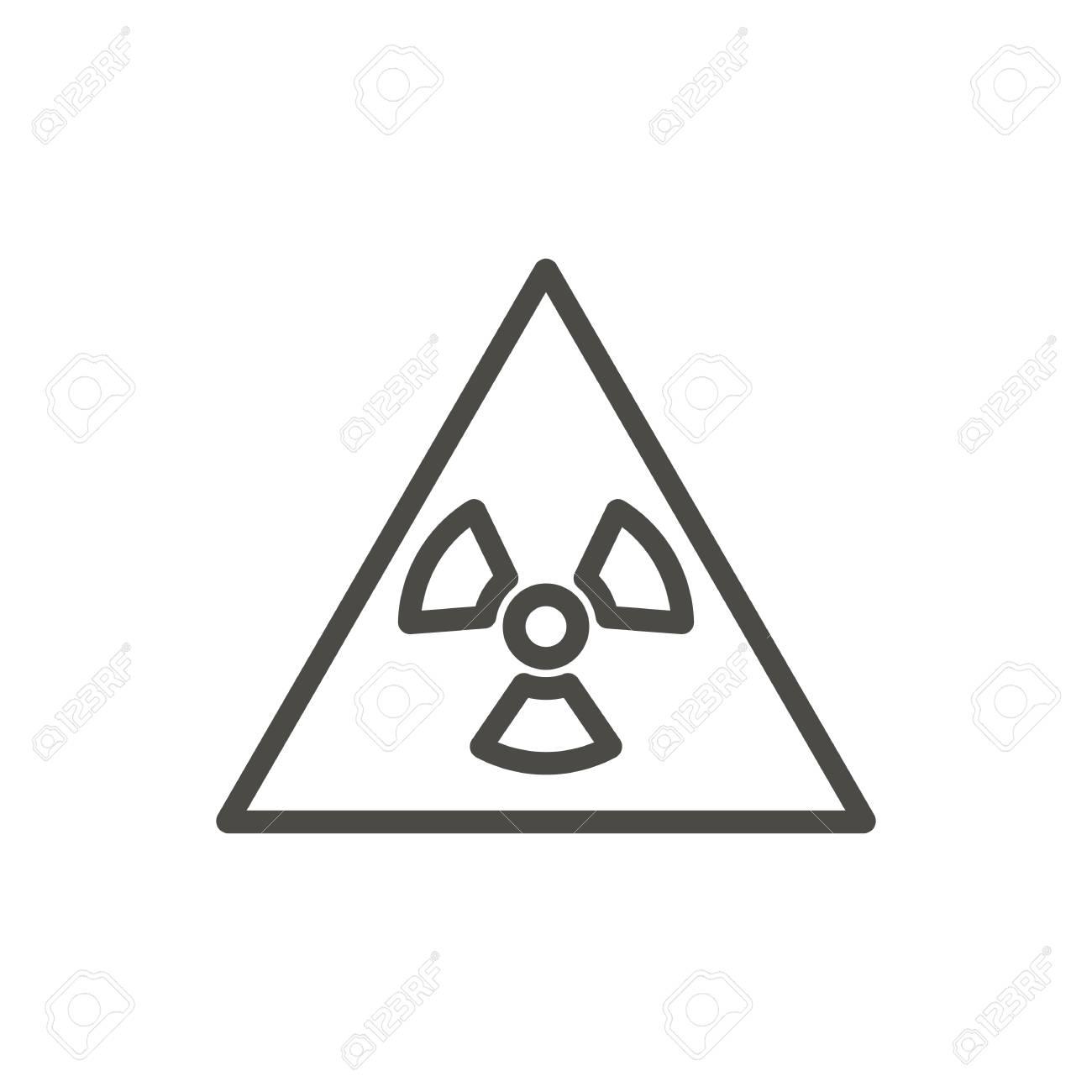 Radioactive Warning Icon Vector Line Toxic Symbol Isolated