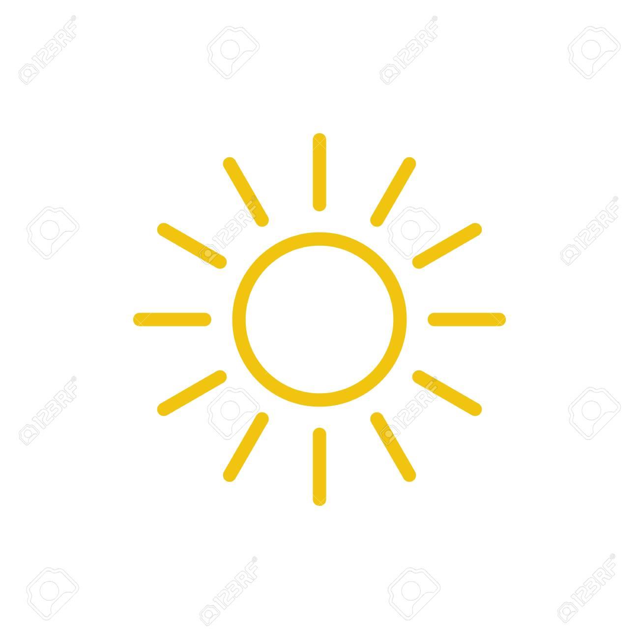 Sun icon vector  Line summer symbol  Trendy flat outline ui sign