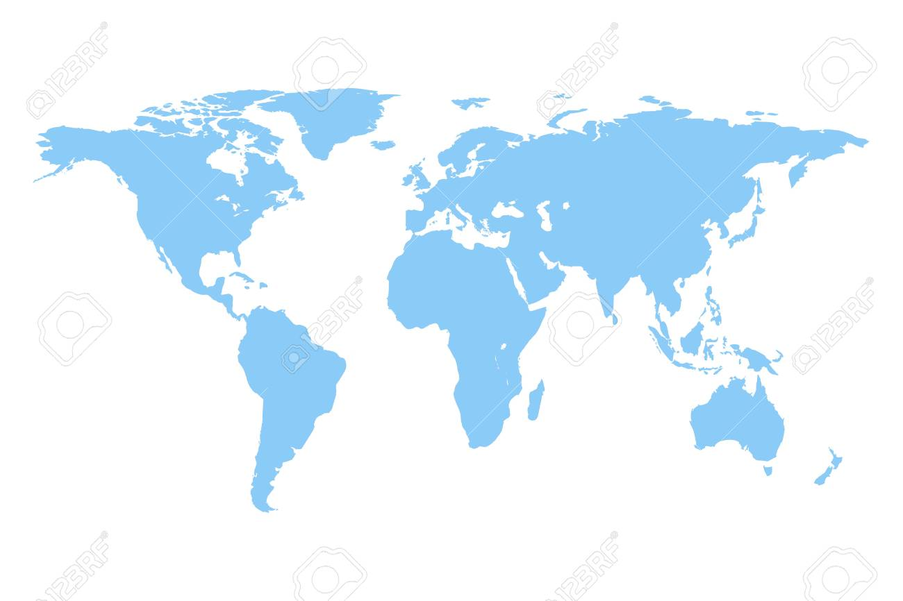 World Map Vector Isolated On White Background. Flat Earth Gray