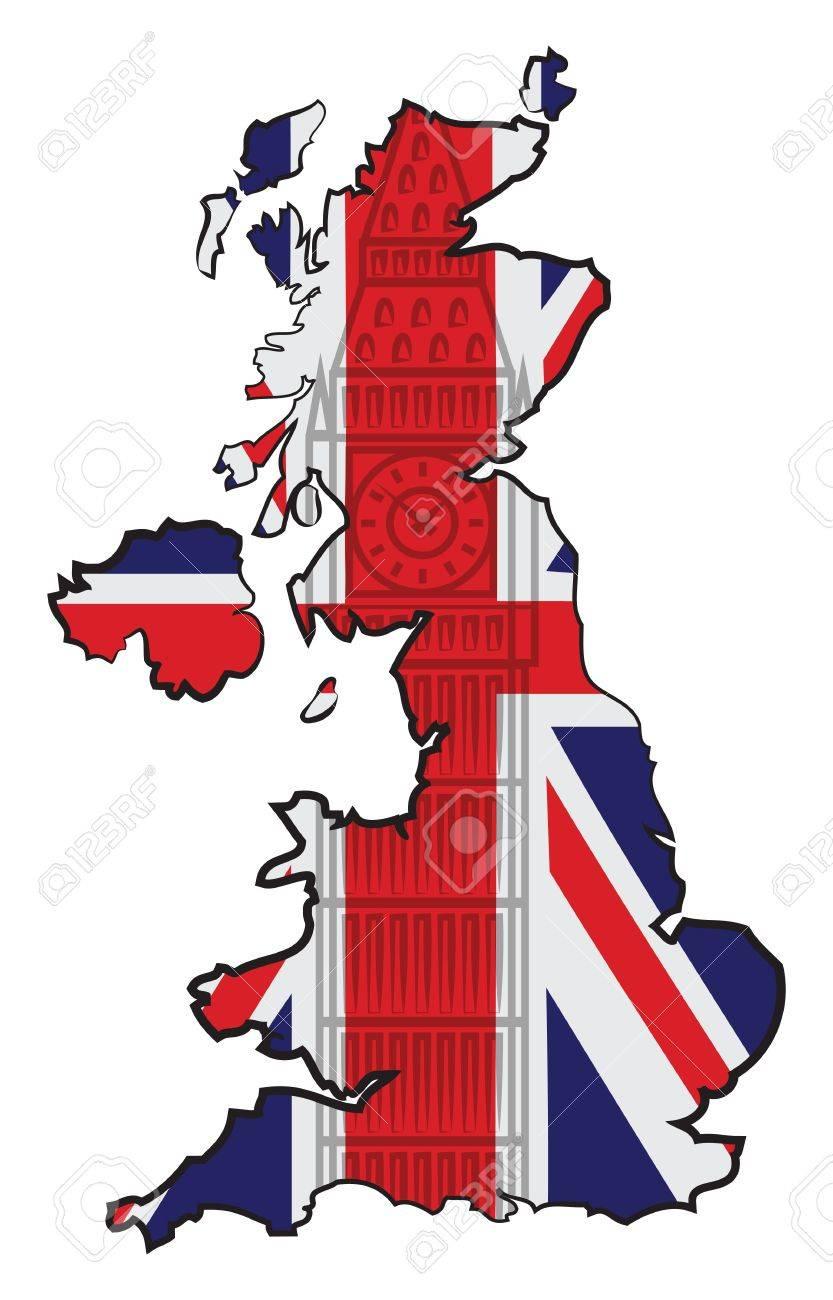 Big Map Of England.Map Of England With Flag And Big Ben