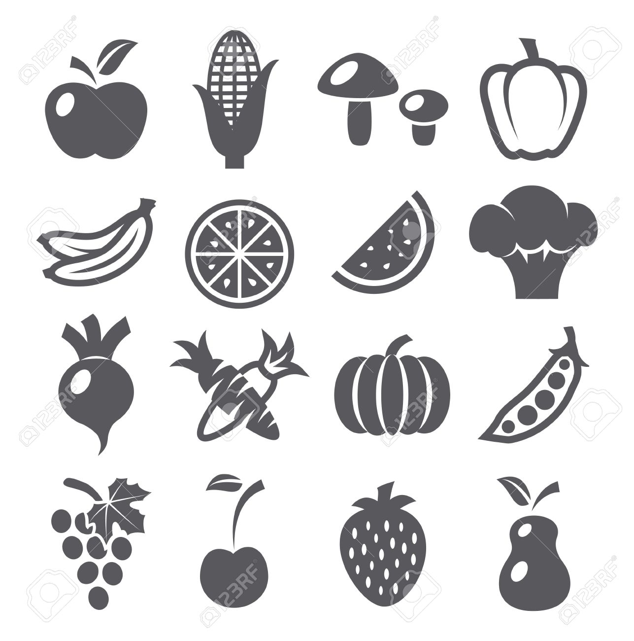 fruits and vegetables icons royalty free cliparts vectors and