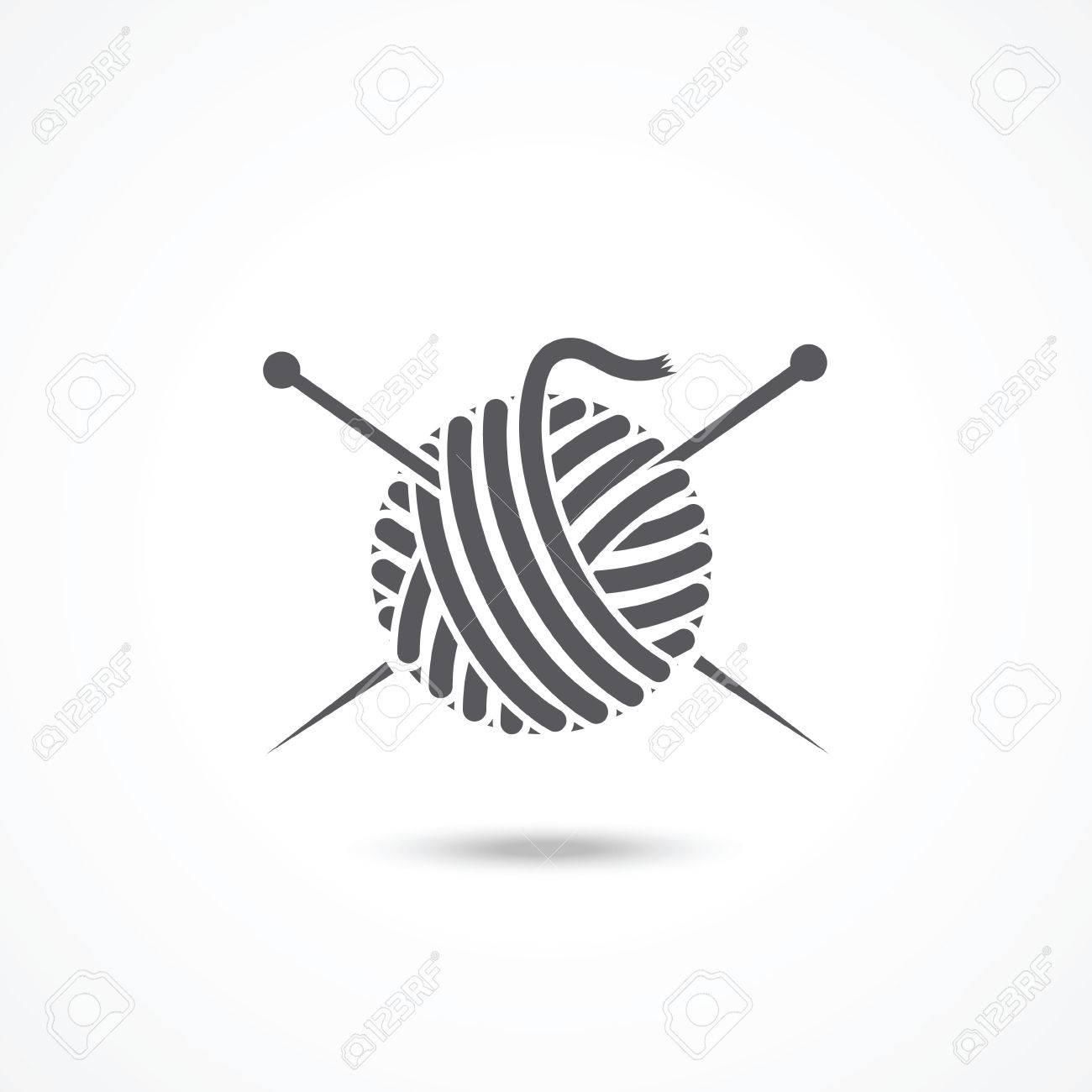 Yarn ball and needles icon - 39448110