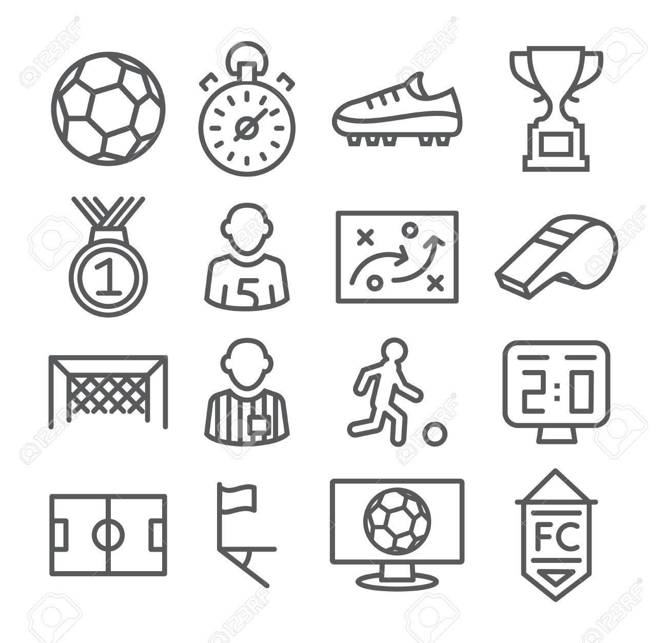 Soccer Line Icons Gray illustration on white - 44295712