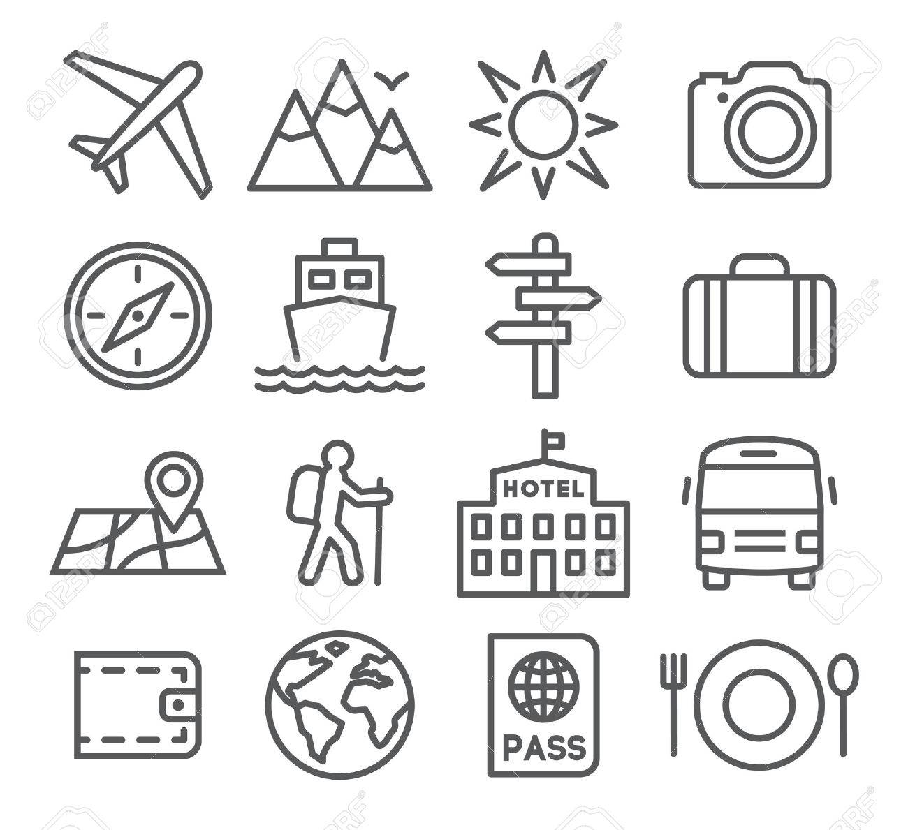 Travel and tourism icon set in trendy linear style Stock Vector - 45852814