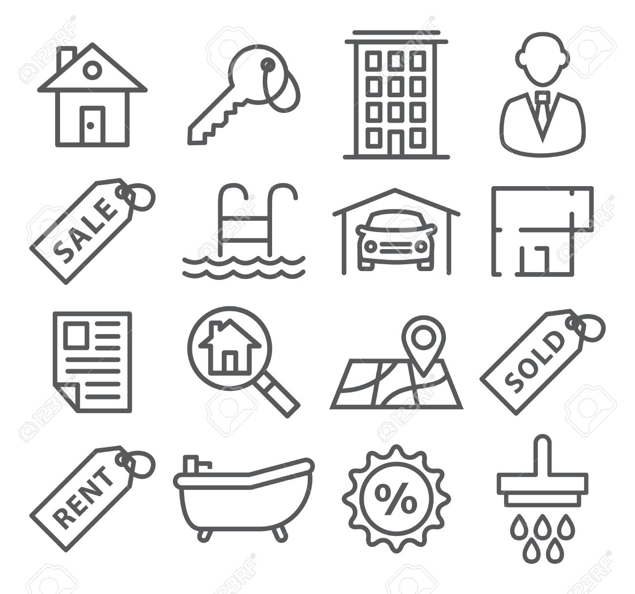 Gray Real Estate Line Icons on white - 46950190