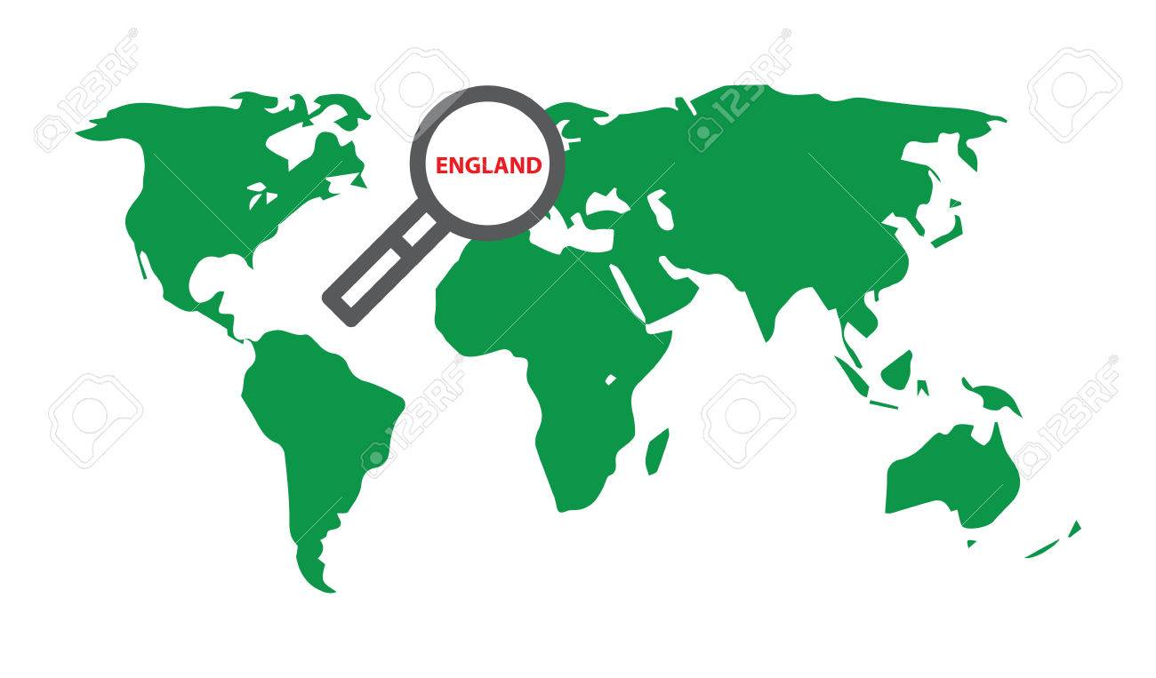 England Illustration With World Map And Loupe Royalty Free