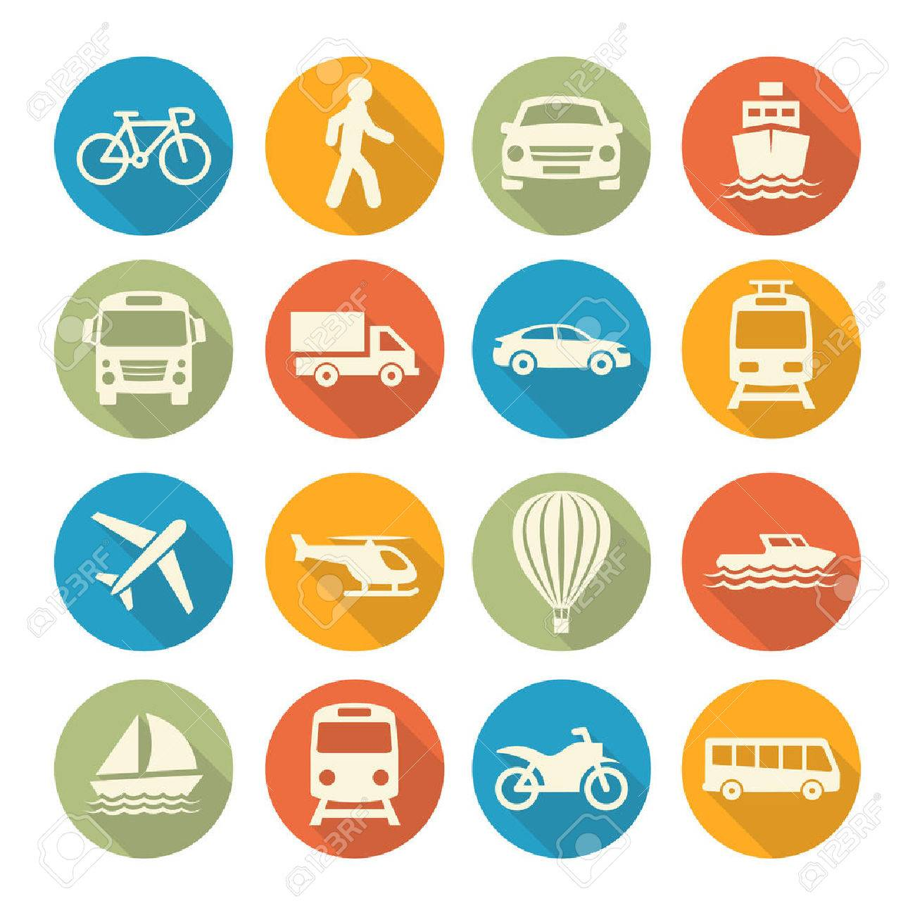 Colorful Transport set icons on white background - 49161534