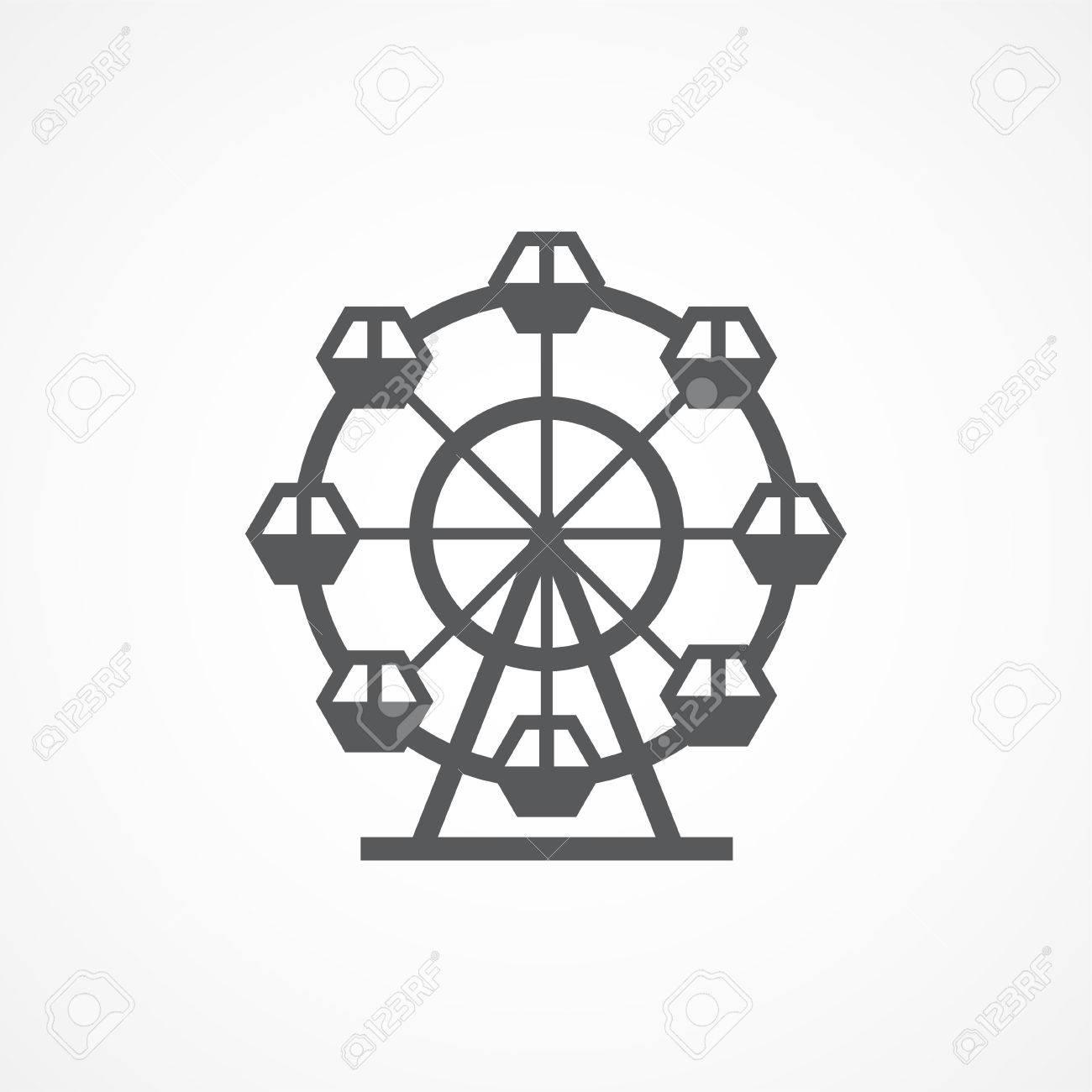 Gray Ferris Wheel Icon on white background - 54325521