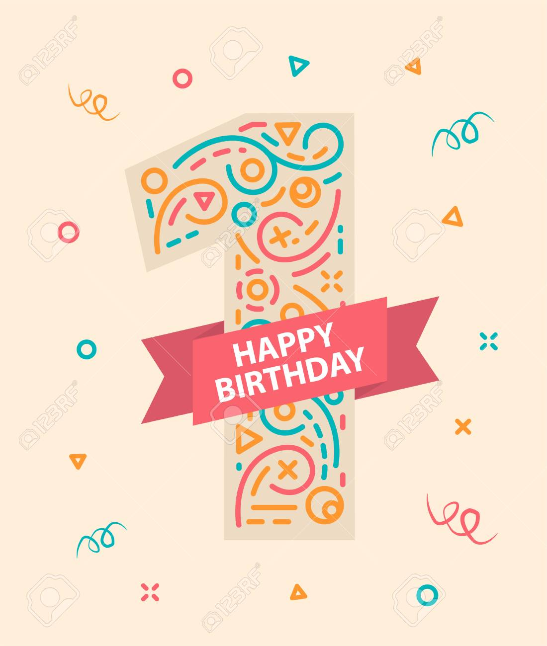 Happy Birthday Greeting Card For One Year Old Stock Vector