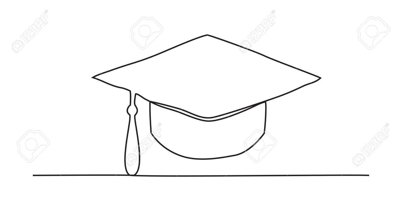 Graduation cap One line drawing
