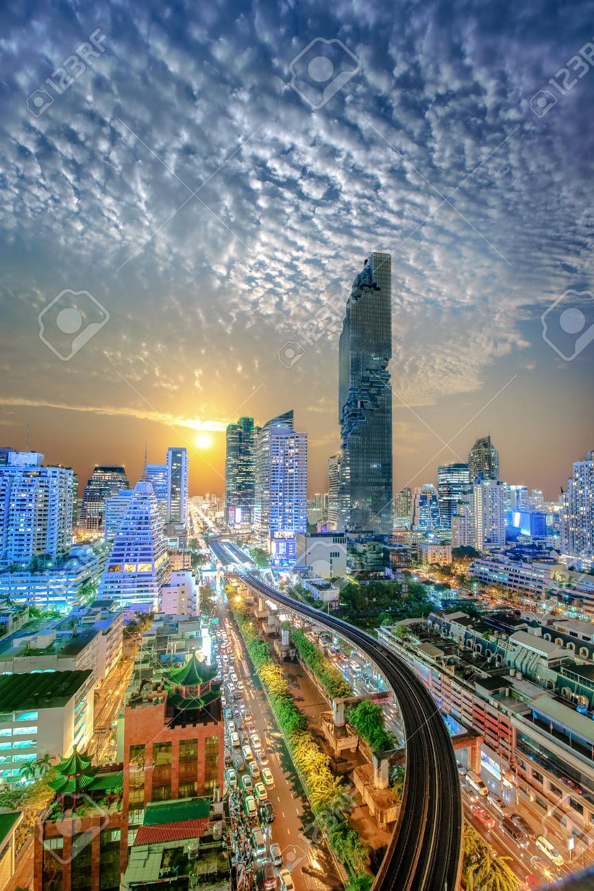 Bangkok Capital City Of Thailand, Light At Sunset Scenery With Destination  Road Ahead To The
