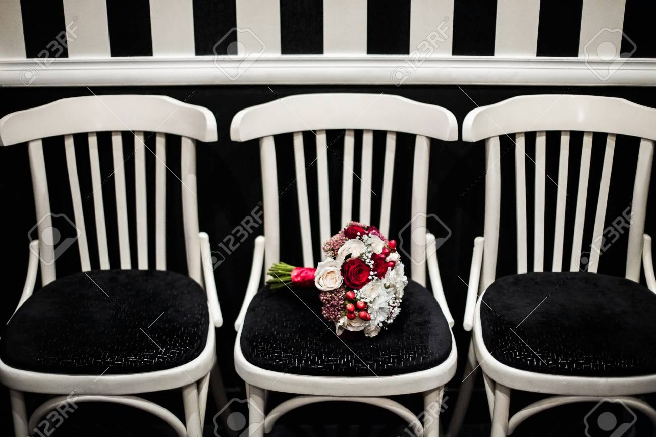 Wedding Bouquet Of Red And White Flowers On A Black And White Stock Photo Picture And Royalty Free Image Image 52583236