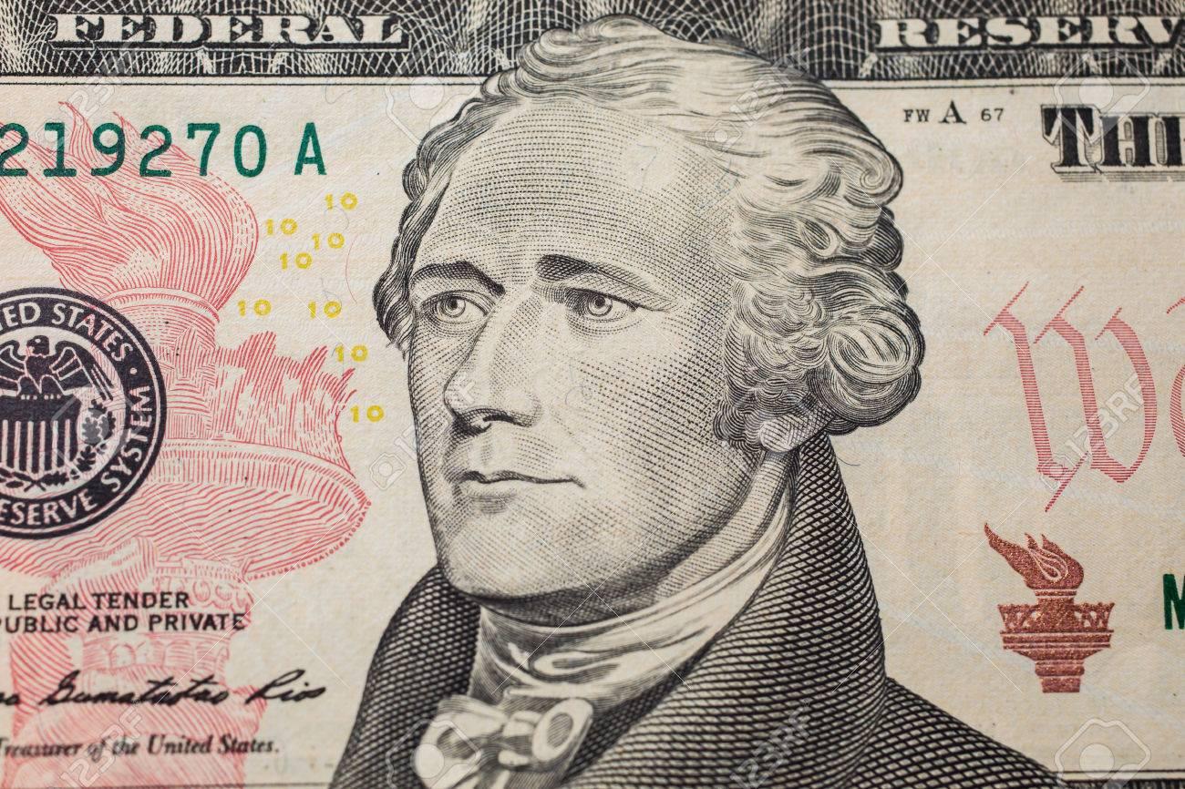 10 ドル札, お金の背景の最初の財務長官アレクサンダー ・ ハミルトン ...