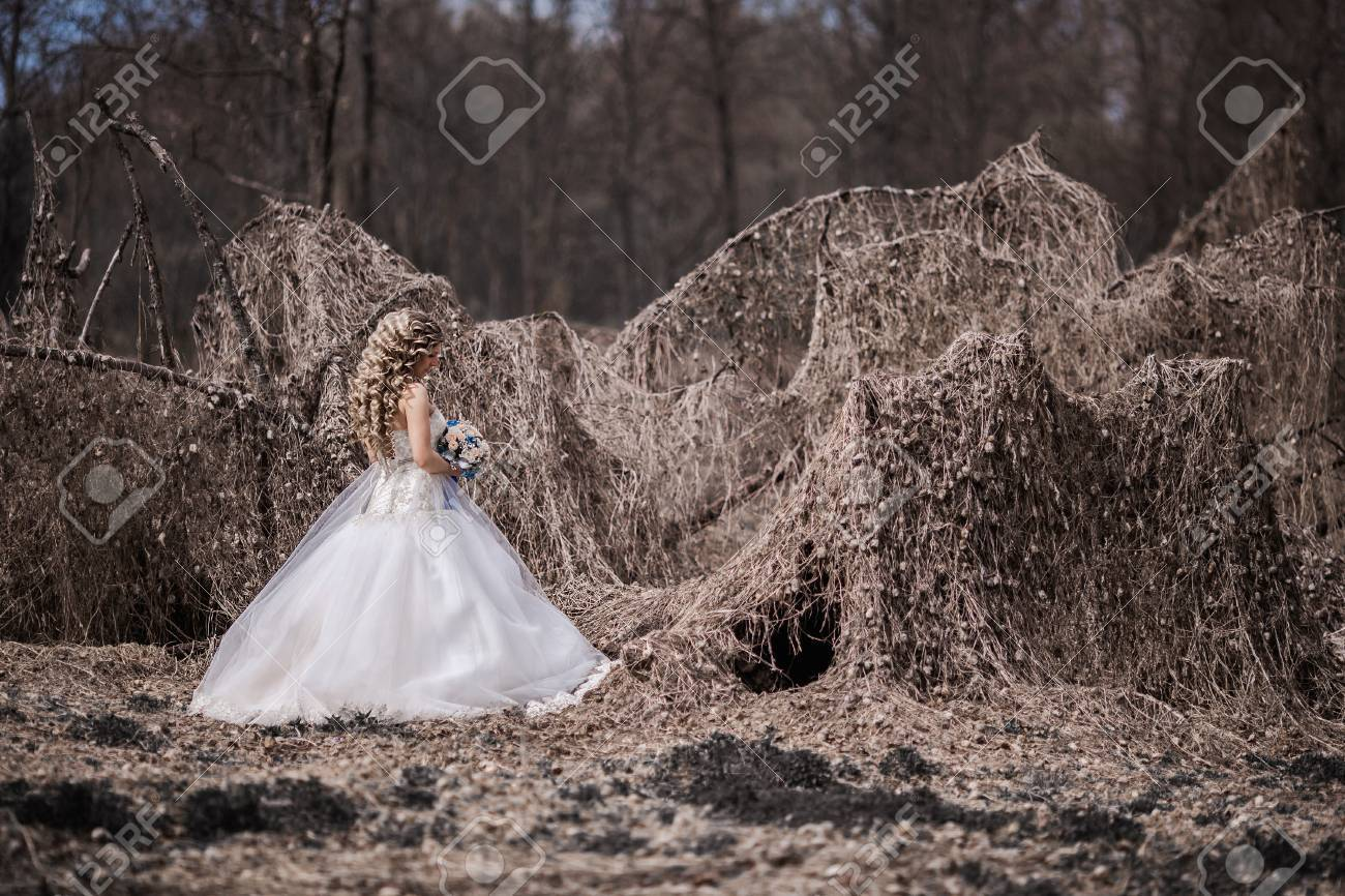 Photo Of The Bride From The Back, Wedding Dress On A Girl, The ...