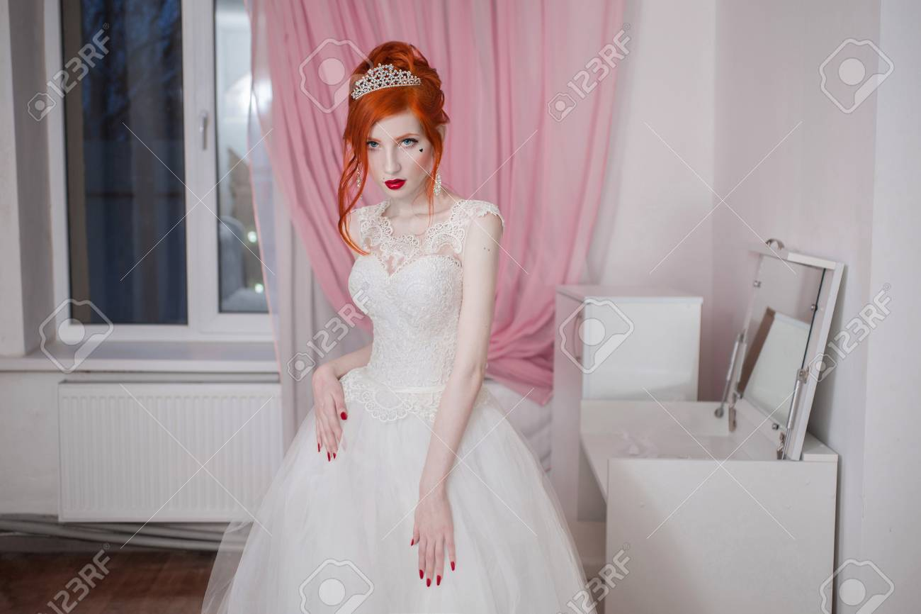 Red-haired Girl In A Wedding Dress, Bright Unusual Appearance ...