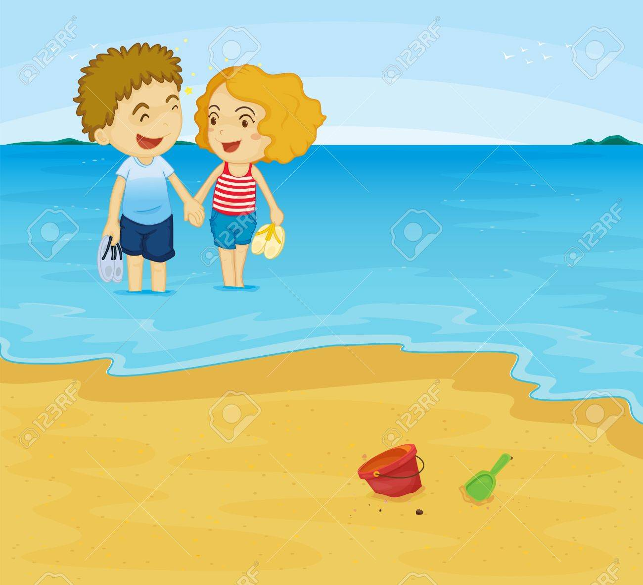 Illustration of romantic couple in water Stock Vector - 13059601