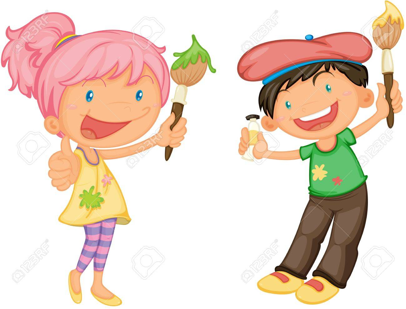 illustration illustration of a kids on a white background - Pictures Of Kids Painting