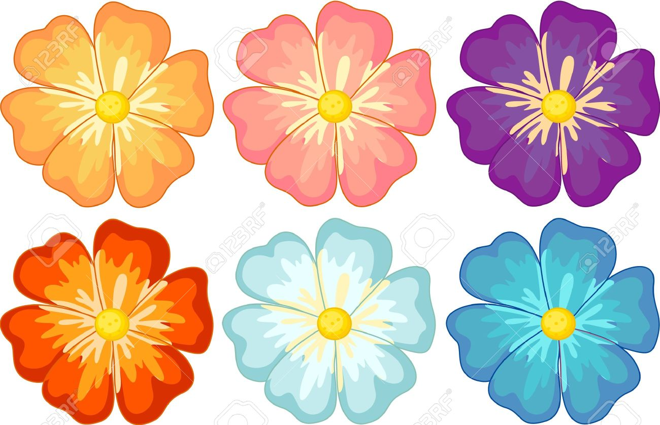 illustration of a collection of isolated flowers royalty free rh 123rf com flowers cartoon images free cartoon flower images to color