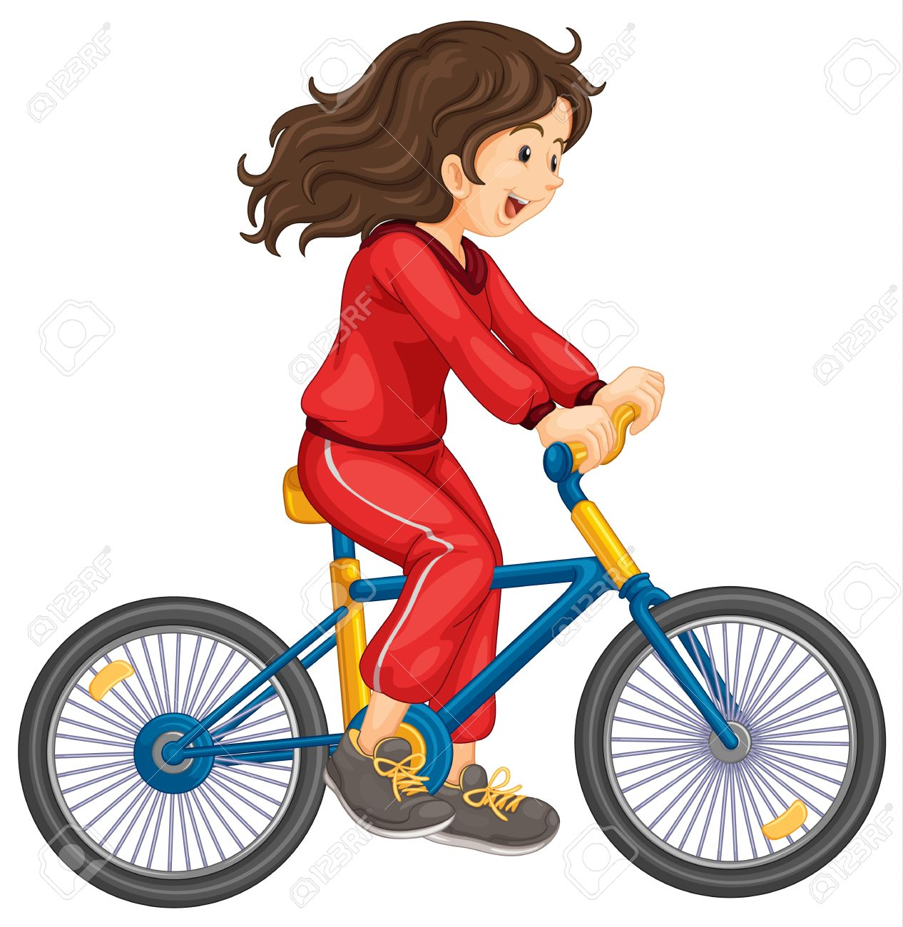 Illustration of girl cycling white background Stock Vector - 13076966