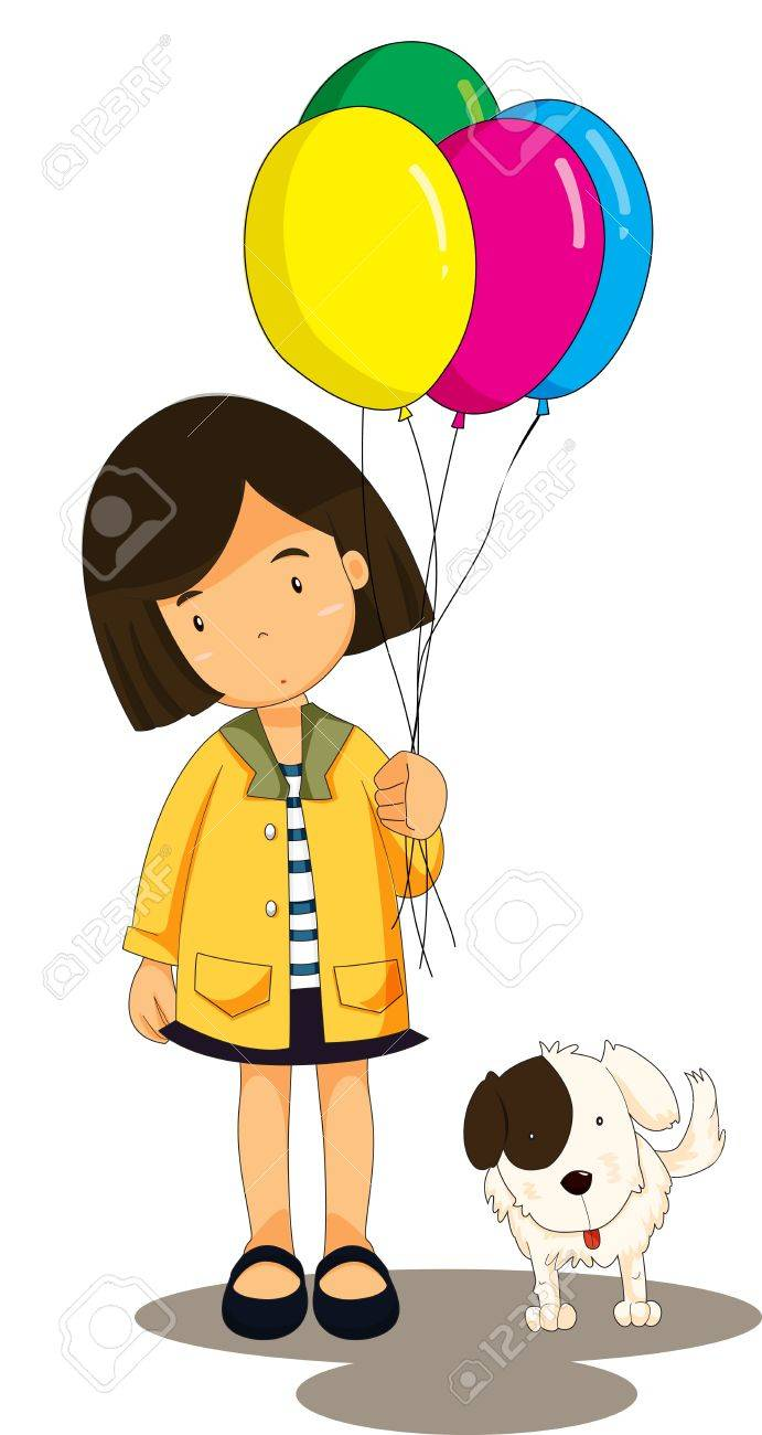 Illustration of girl with her dog Stock Vector - 13076233