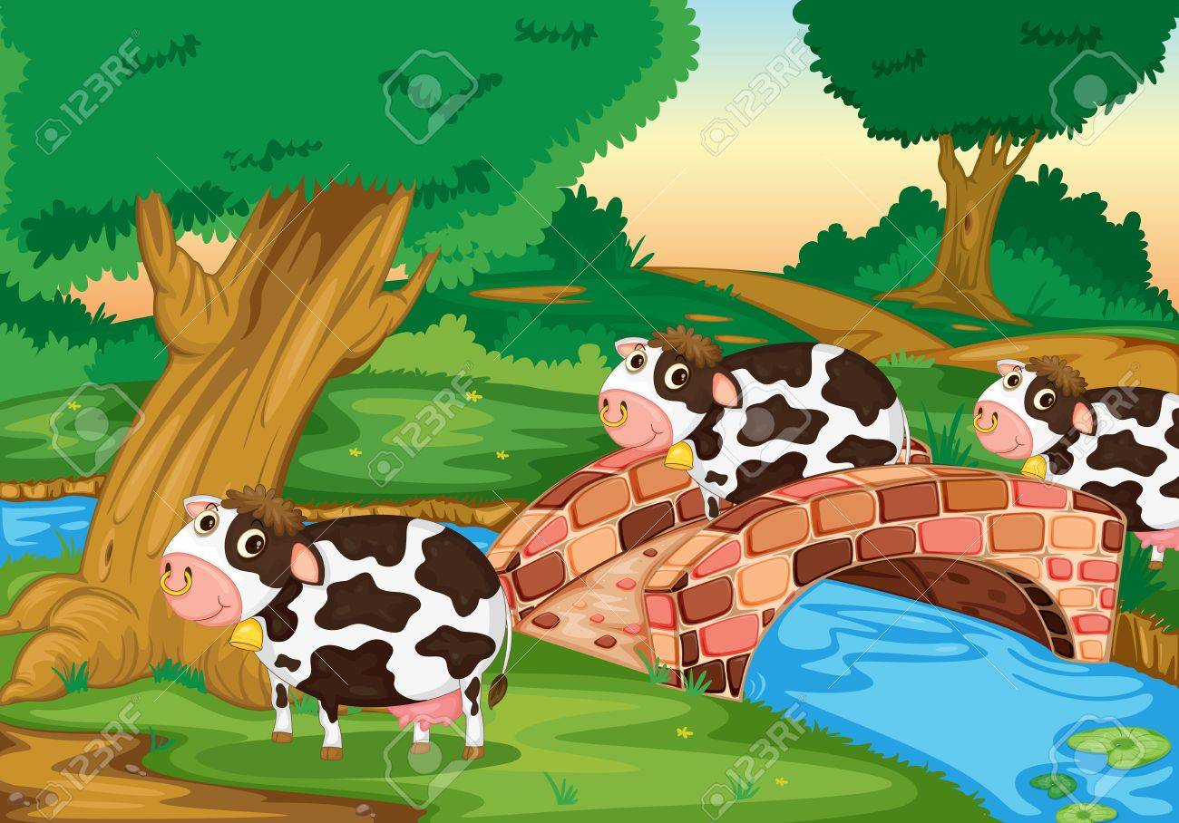 Illustration of cows coming home Stock Photo - 13109815