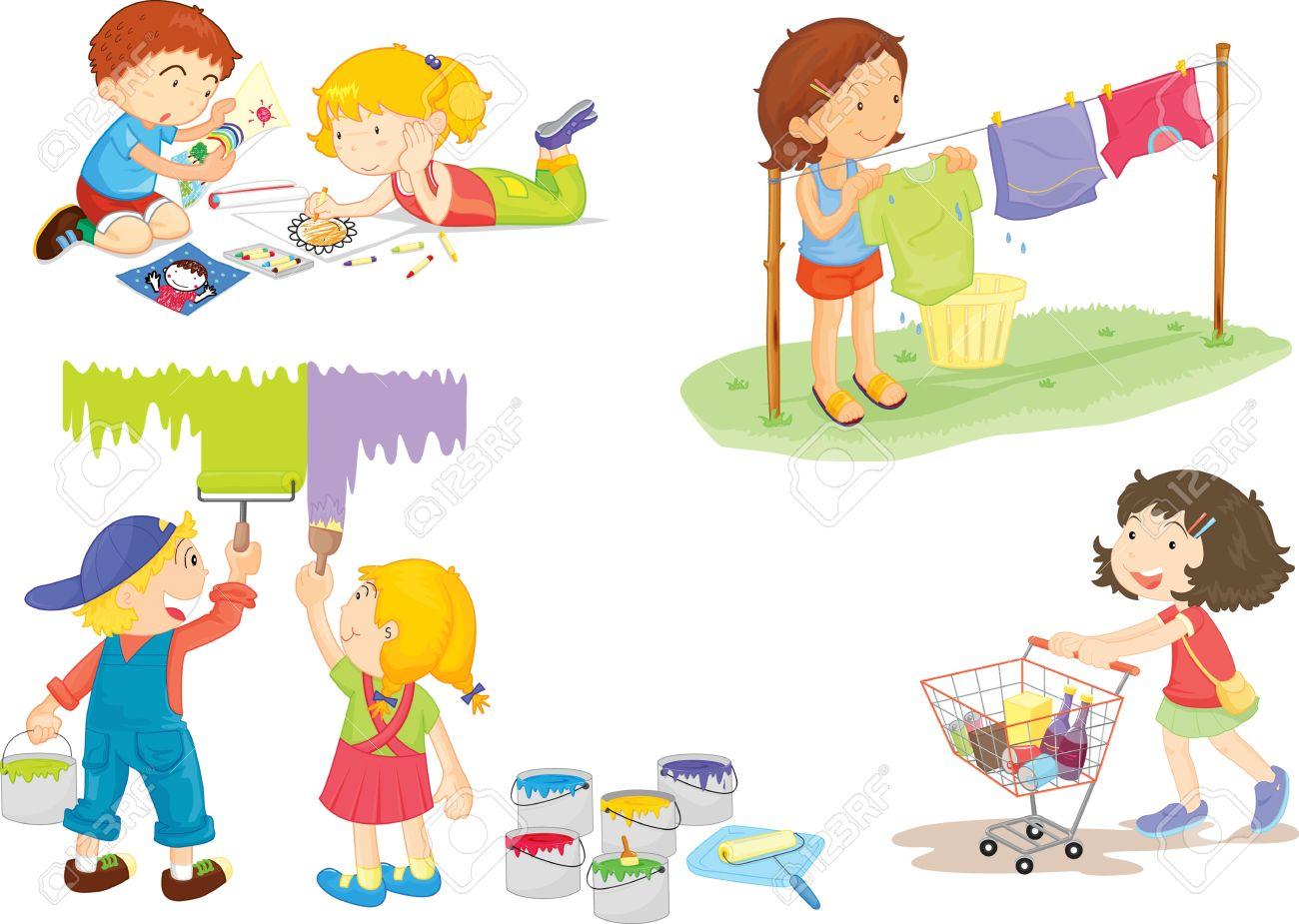 illustration of kids on white stock vector 13120645